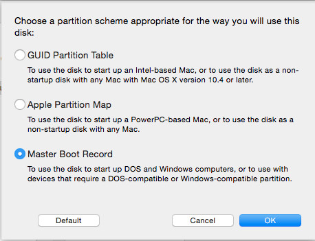 Specify MBR as partition scheme for the bootable Windows 10 USB flash drive.